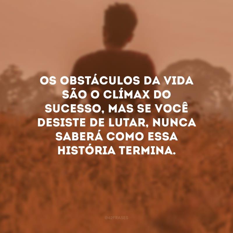 Os obstáculos da vida são o clímax do sucesso, mas se você desiste de lutar, nunca saberá como essa história termina.