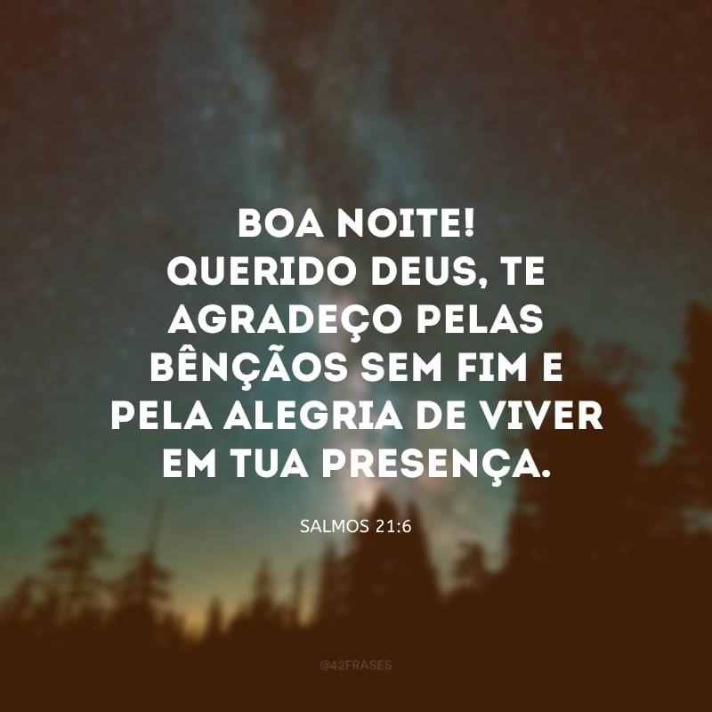 Boa noite! Querido Deus, te agradeço pelas bênçãos sem fim e pela alegria de viver em Tua presença.