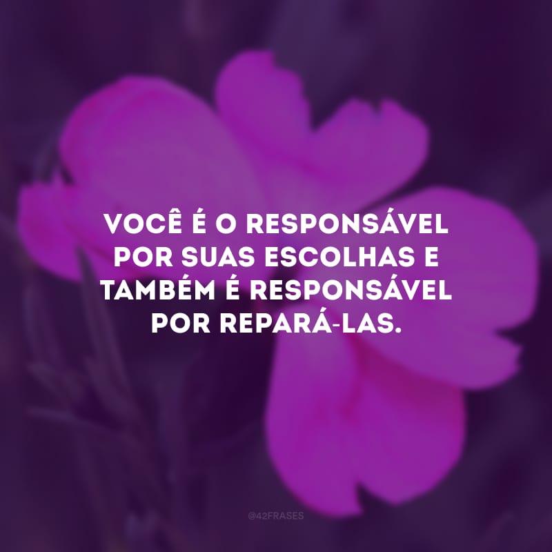 Você é o responsável por suas escolhas e também é responsável por repará-las.